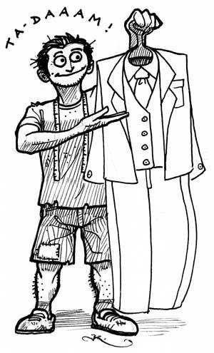 personnage dépenaillé présentant un costume impeccable