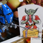 Orc de Noël offert dans son contexte : litchis, choco, lego