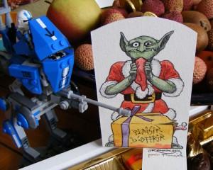 Orc de Noël offert dans son contexte : litchis, choco, lego (Joyeux Norkël à tous !)
