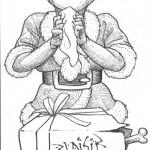 Orc de Noël : dessin sur papier
