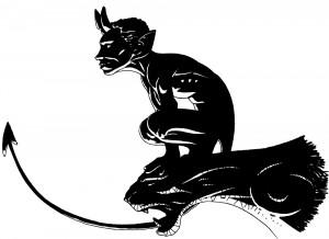 Diable du Pont Valentré – dessin noir et blanc (Pas Hellboy … mais qui ?)