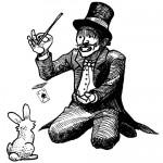 Magicien en queue de pie, haut-de-forme et noeud papillon, avec baguette et lapin récalcitrant