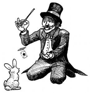 Magicien en queue de  pie, haut-de-forme et noeud papillon, avec baguette et lapin récalcitrant (Magie & anniversaire = magiversaire)