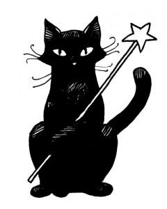chat noir magique (Magie & anniversaire = magiversaire)