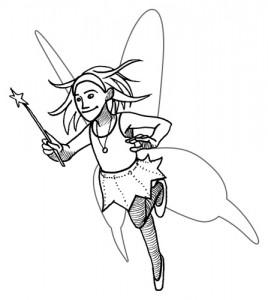 fee avec ailes et baguette magique (Magie & anniversaire = magiversaire)