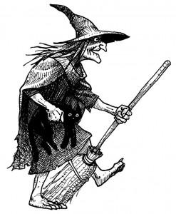 sorcière avec balai et chat noir (Magie & anniversaire = magiversaire)