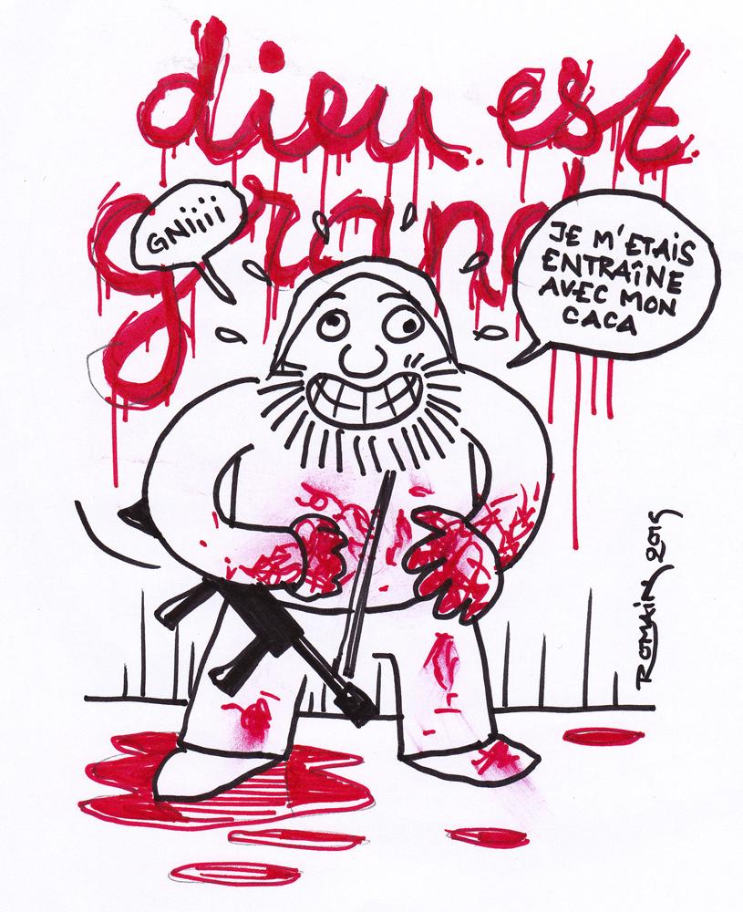 """Un terroriste a écrit """"Dieu est grand"""" avec du sang. Il précise, pas peu fier, qu'il s'était entraîne avec son caca."""