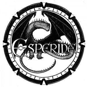 Dragon se melant aux lettres du logo Esperide : version 1