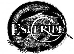 Dragon se melant aux lettres du logo Esperide : croquis 1
