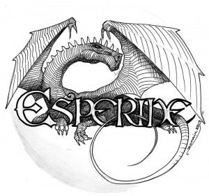 Dragon se melant aux lettres du logo Esperide : croquis 2