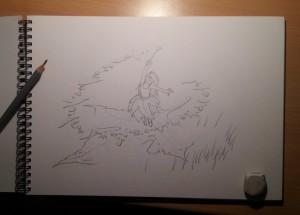 Fée du printemps : croquis crayon (La Fée du Printemps)
