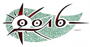 calligraphie «Bonne Année 2016» (Bonne année 2016, en calligraphie)