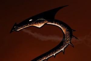 Dragon incendiaire , détail du rendu final (Des griffes, des ailes et des flammes)