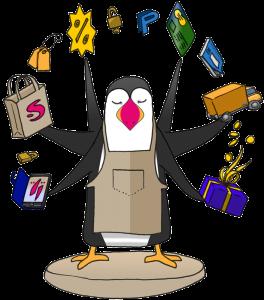 Mascotte Prestashop : macareux jongleur en couleur (Prestashop, sa mascotte, et les livres d'informatique)