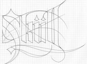 calligraphie «Skull» – croquis (Calligraphie «Skull»)