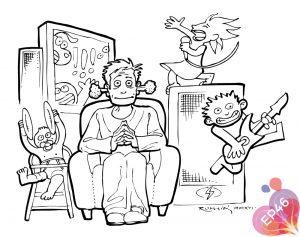 Dessin pour EP46 : parents et enfants - le calme dans la maison