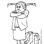 Enfant de 7 ans en train de bouder / faire un caprice