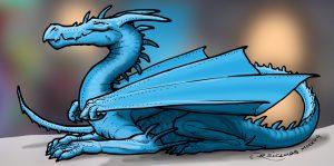 Dragon bleu gentil et souriant (Papy Troll et Mamy Troll)