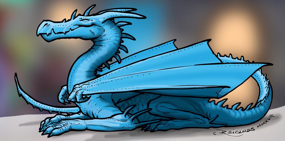 Dragon bleu gentil et souriant