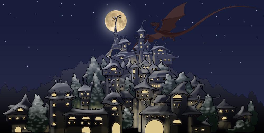 Village magique la nuit : pleine lune et dragon
