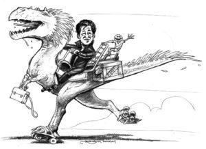 Pidapi : l'instit Gérard Klein livrant la nouvelle version en moto-dinosaure