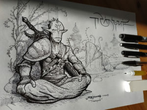 Inktober 2018 Day 2 : Tranquil / Tranquille … Le guerrier immobile (Inktober 2018 – part.1)