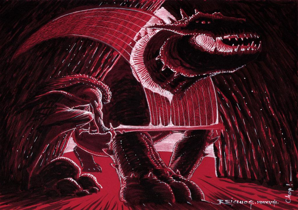 Konrakh et le dragon ( Inktober 2018 jour 24 : Chop - Trancher )