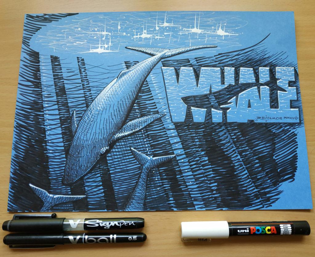 Inktober 2018 d12 : Whale / Baleine