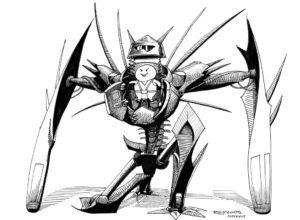 Un bonhomme rondouillard dans une armure toute pointue ( Inktober2018, jour 16 : Angular / anguleux )