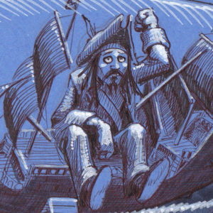 """Le Capitaine Jack Sparrow et son Black Pearl dans une bouteille – détail (Inktober 2018 jour 18: """"Bottle"""" / """"Bouteille"""") (Inktober 2018 – part.2)"""