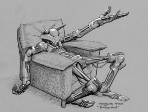 "Inktober 2018 jour 7 : ""Exhausted"" / ""épuisé"" - robot avachi"