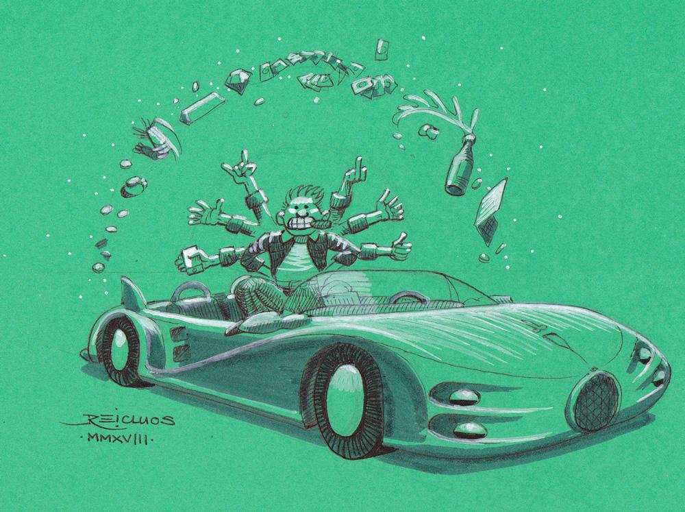 """La voiture de sport avec tous ses accessoires (Inktober 2018 jour 22 : """"Expensive"""" / """"Cher"""")"""
