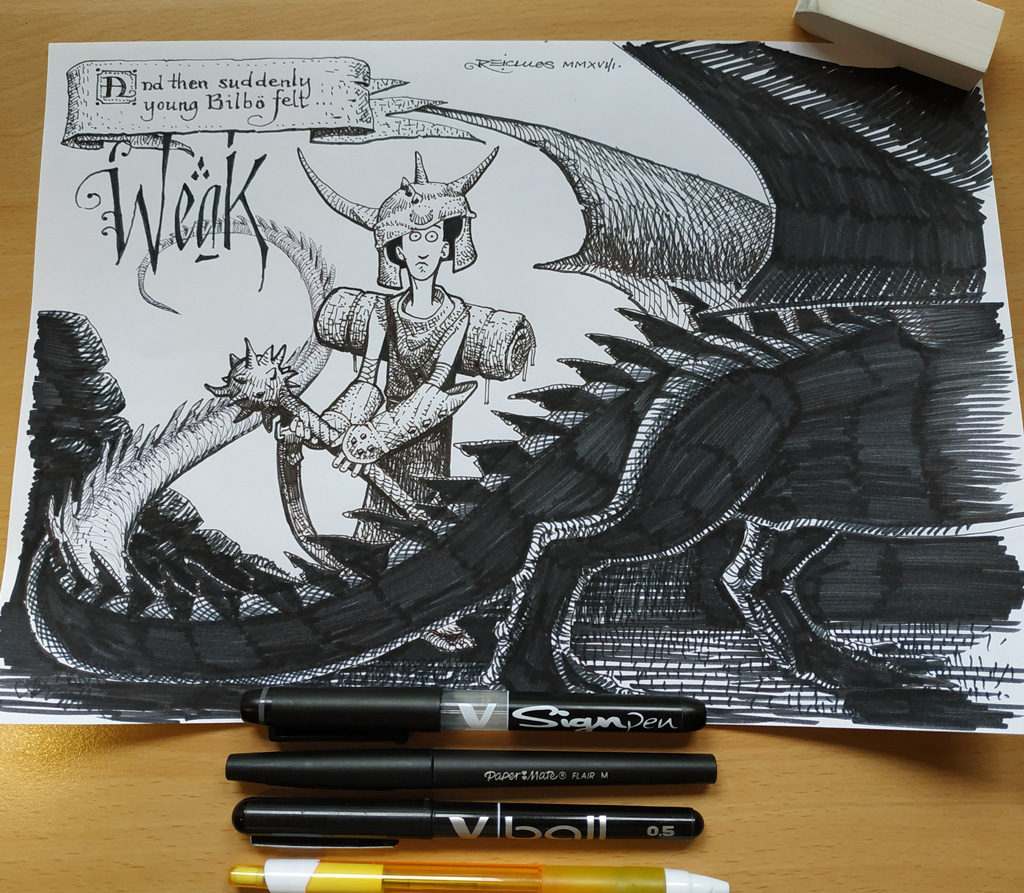 Bilbo vs. Dragon (Inktober 2018 j15 : Weak / Faible)